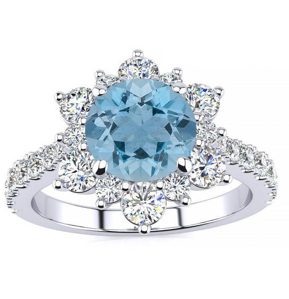 Snowflake Aquamarine Ring