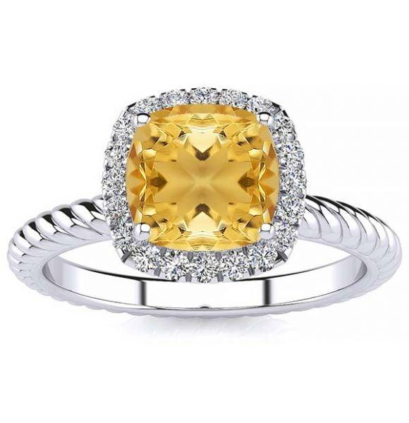 Alyssa Yellow Citrine Ring