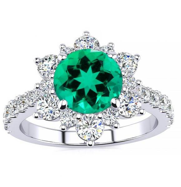 Snowflake Emerald Ring