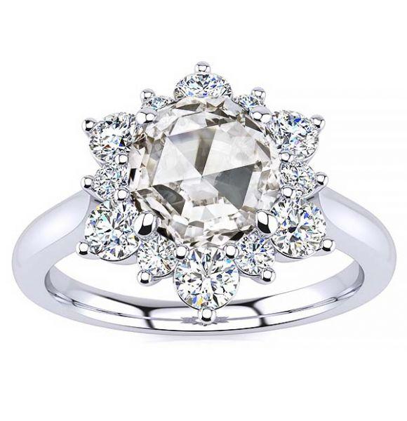 Snowflake Rose Cut Moissanite Ring