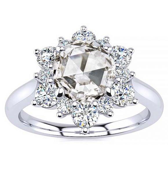 Snowflake Rose Cut Lab Grown Diamond Ring