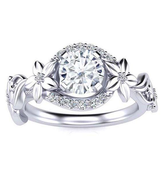 Rosy Moissanite Ring