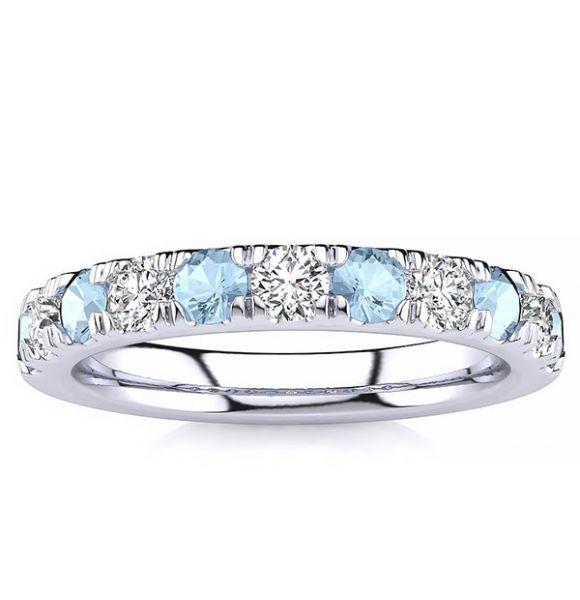 3.2mm Aquamarine Diamond Ring
