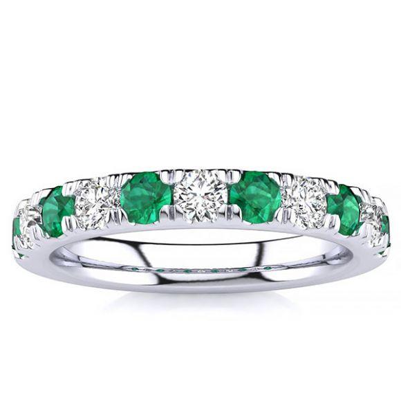 3.2mm Emerald Diamond Ring