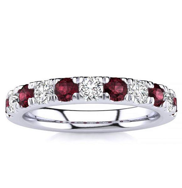 3.2mm Garnet Diamond Ring