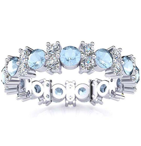 Garland Aquamarine And Diamond Ring