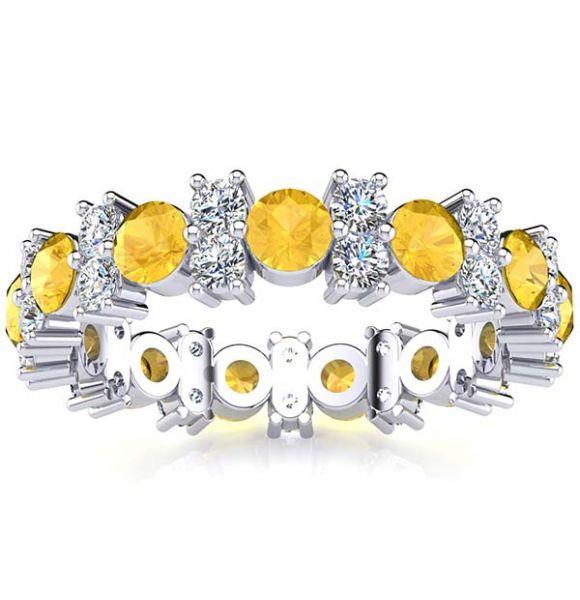 Garland Citrine And Diamond Ring